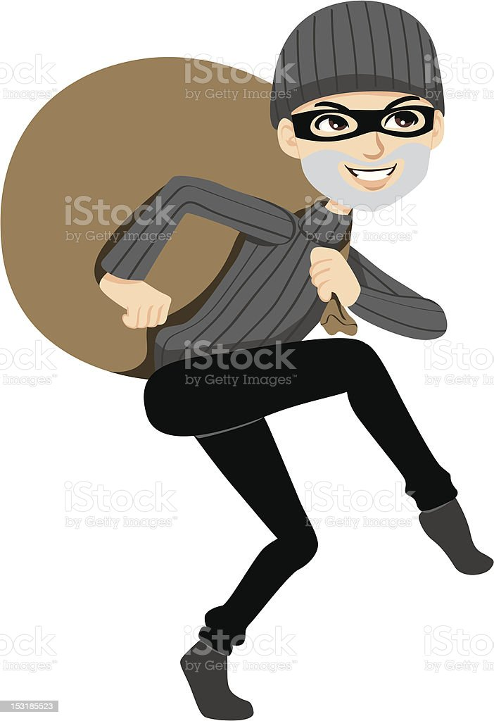 Happy Thief Sneaking royalty-free stock vector art