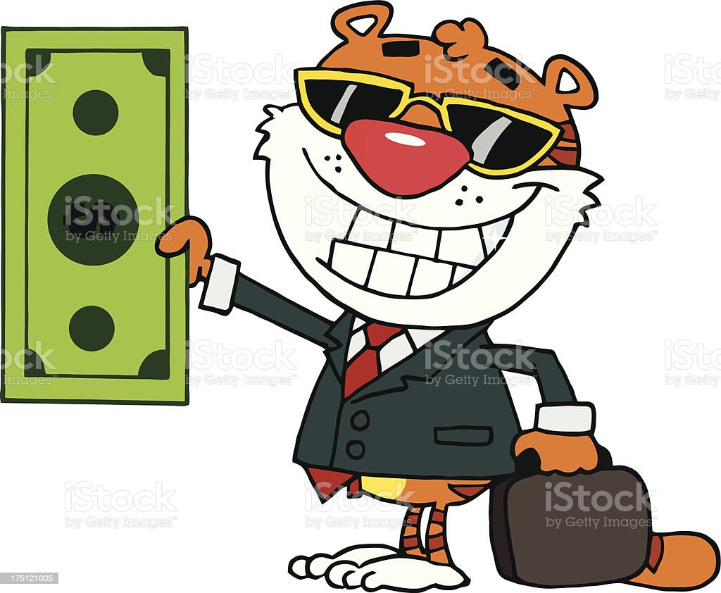 Happy Tiger Businessman Holds Dollar Bill ?nd Business Briefcase royalty-free stock vector art