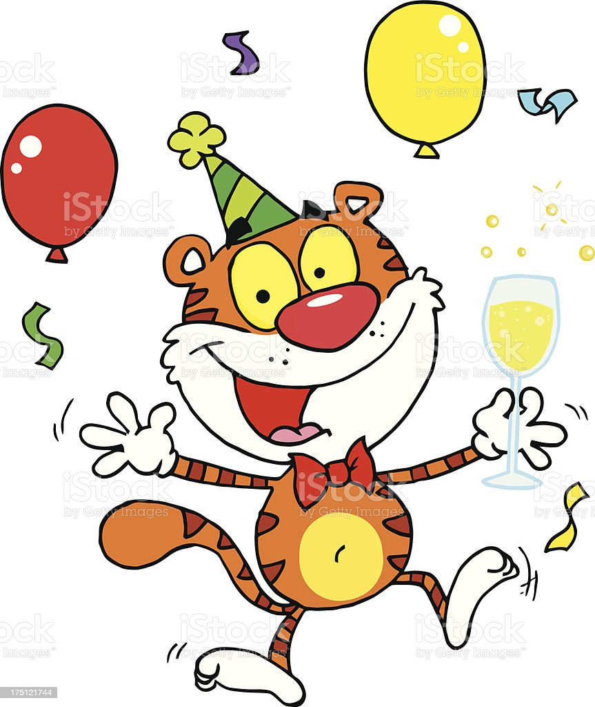 Happy Tiger in Birthday Party royalty-free stock vector art