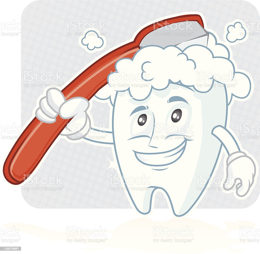 Happy tooth Brushing royalty-free stock vector art