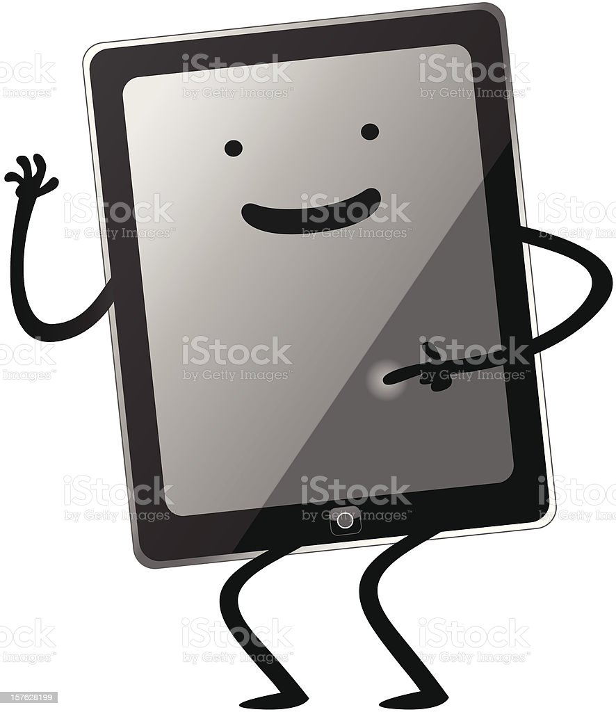 Happy Touch Tablet royalty-free stock vector art