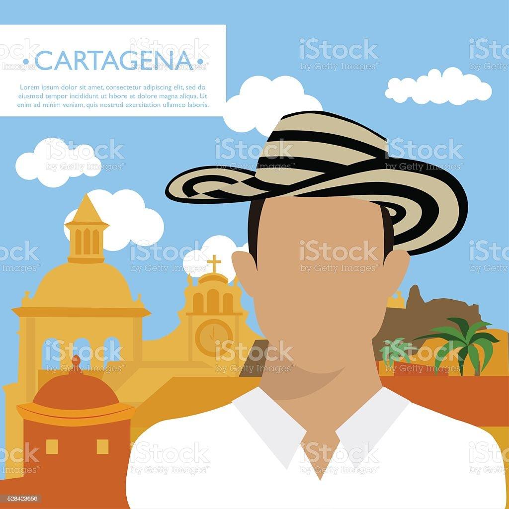 Happy tourist in Cartagena vector art illustration