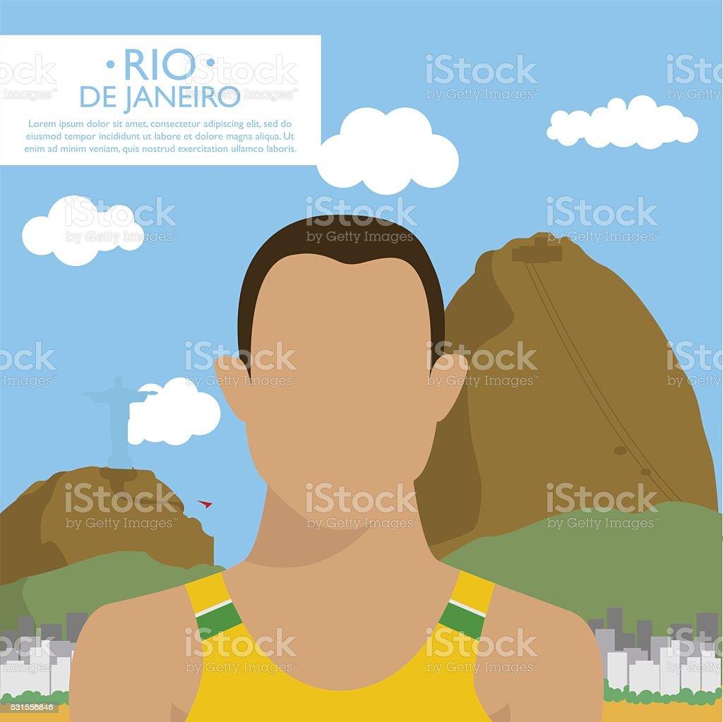 Happy tourist in Rio de Janeiro, Brazil vector art illustration