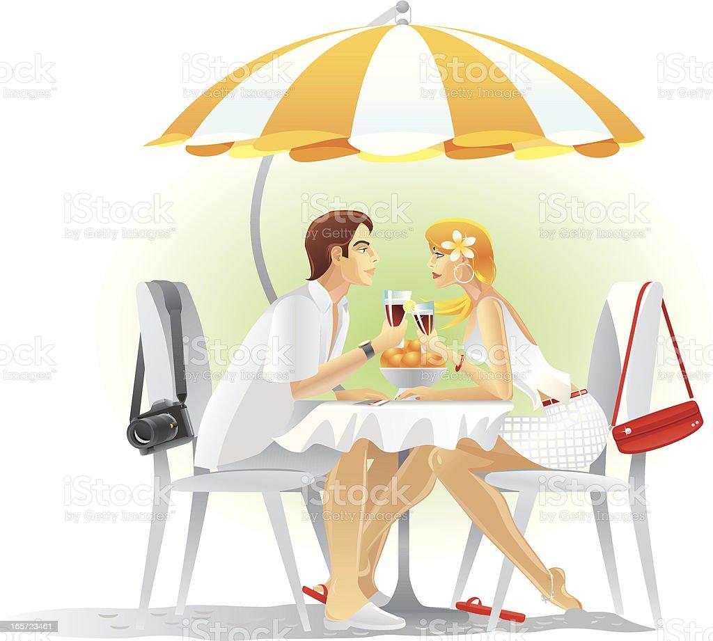 Happy tourists couple on an Island vector art illustration