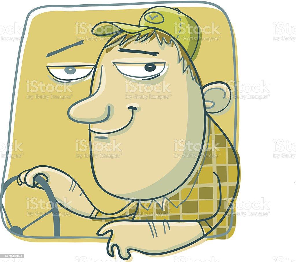 Happy Trucker vector art illustration