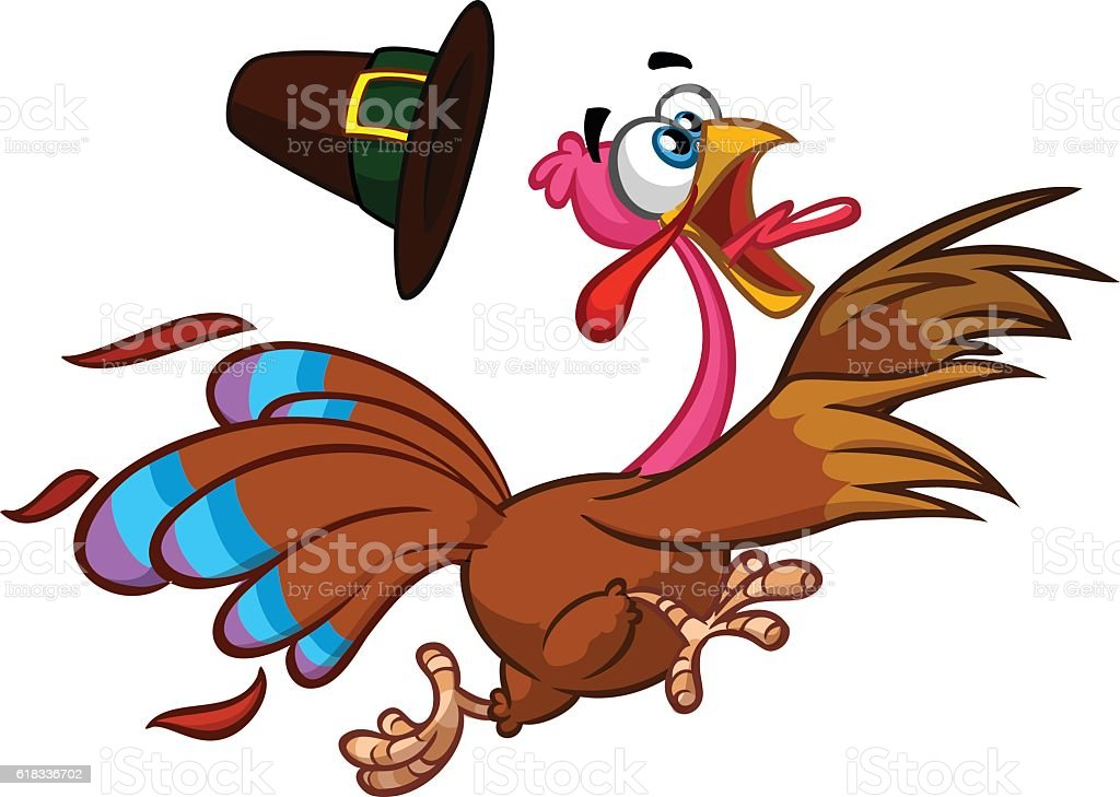 Happy turkey cartoon running . Vector cartoon vector art illustration