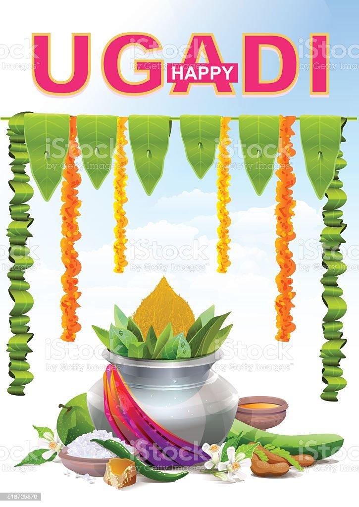 Happy Ugadi. Template greeting card for holiday Ugadi. Silver pot vector art illustration