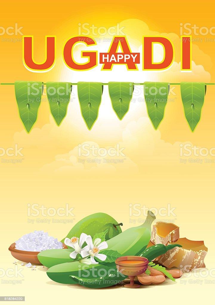 Happy Ugadi. Template greeting card for holiday Ugadi vector art illustration