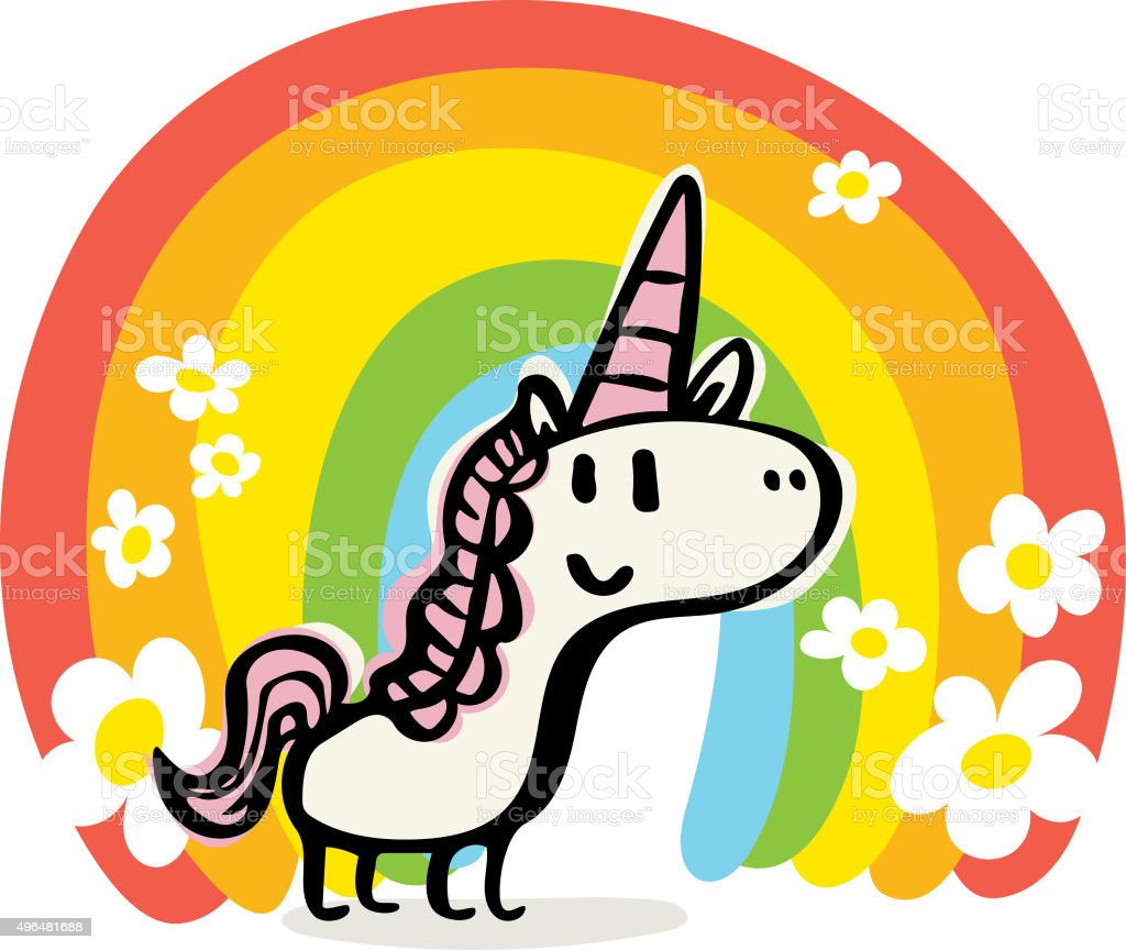 Happy Unicorn Doodle vector art illustration