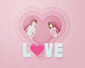 Happy valentine day 3d layer paper art style