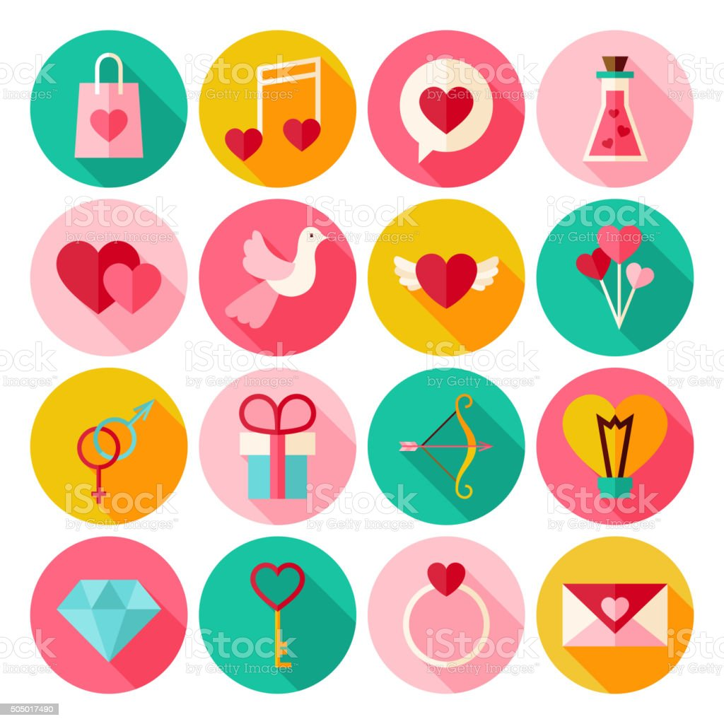 Happy Valentine Day Circle Icons Set with long Shadow vector art illustration