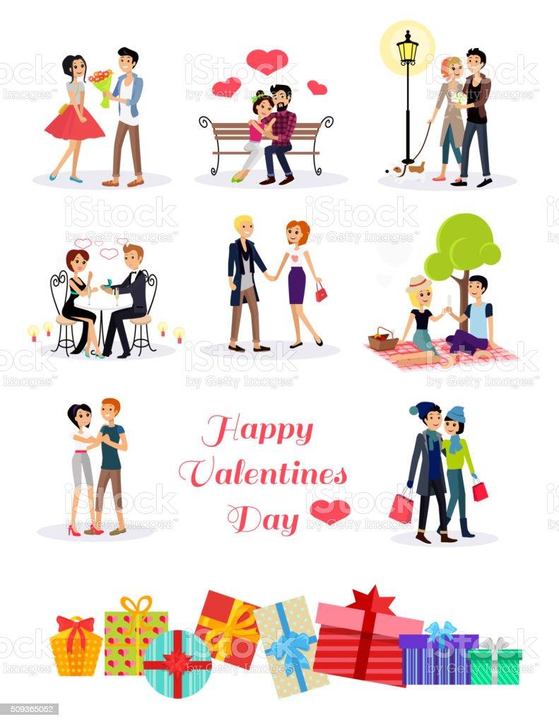 Happy Valentine Day Couple Set vector art illustration