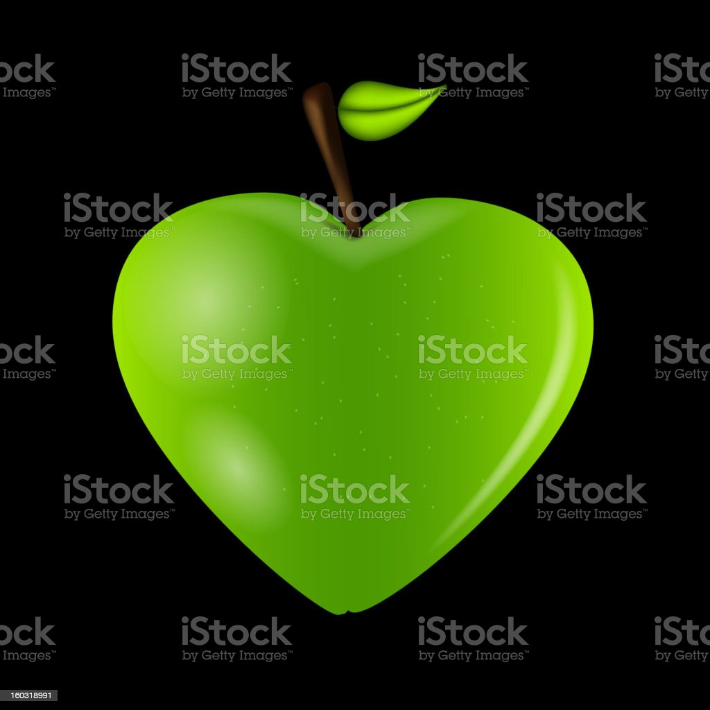 Happy Valentines Day card with apple heart. Vector illustration royalty-free stock vector art