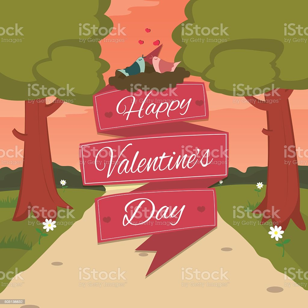 Happy Valentines Day card with cute bird couple. royalty-free stock vector art