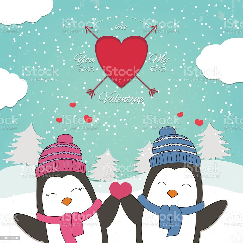 Happy Valentines Day card with cute couple penguin. Vector illustration royalty-free stock vector art