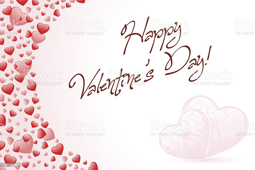 Happy Valentine's Day Card with Hearts royalty-free stock vector art