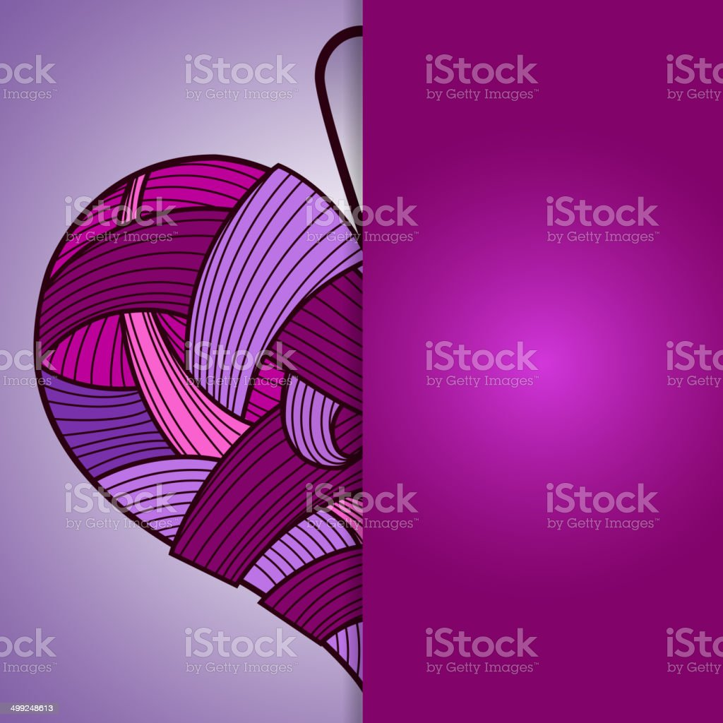 Happy Valentine's Day card with knitted heart vector art illustration