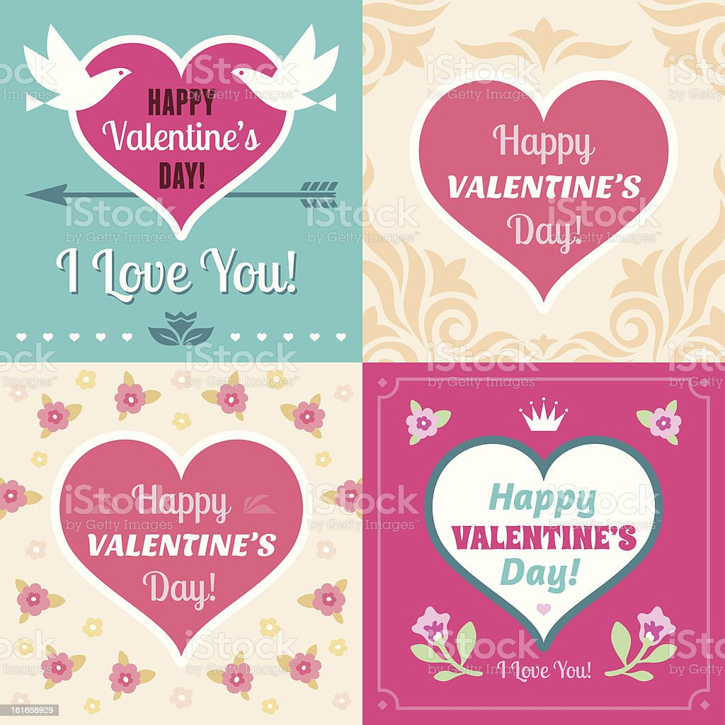 Happy Valentines Day Cards royalty-free stock vector art