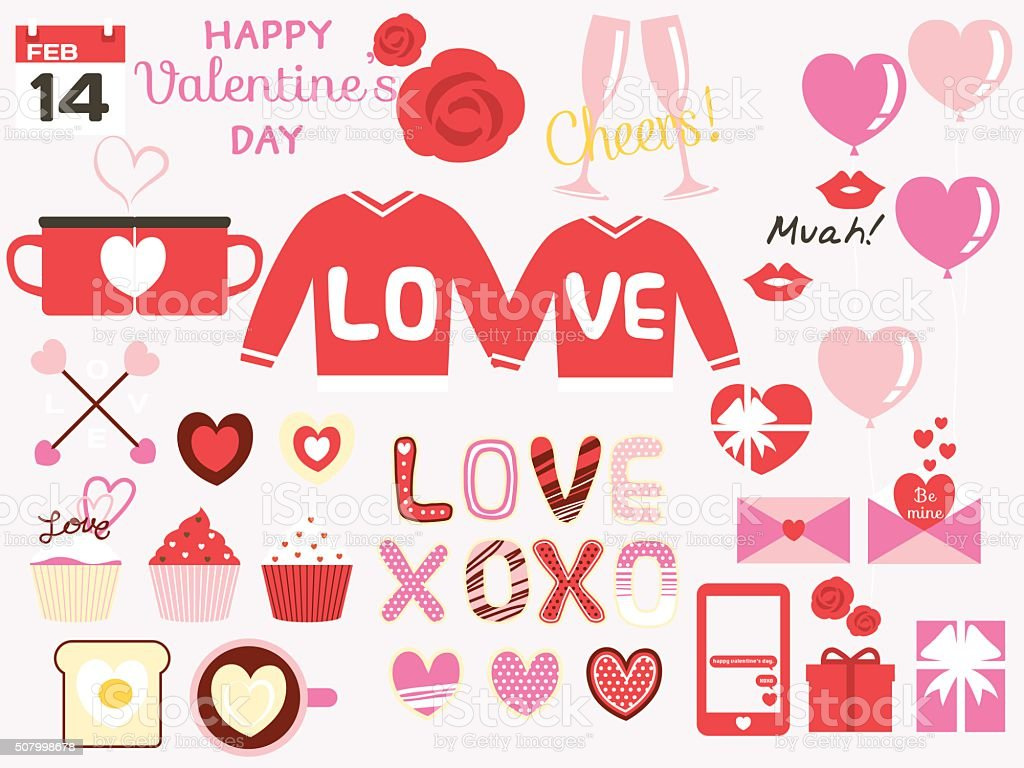 happy valentines day design elements vector art illustration