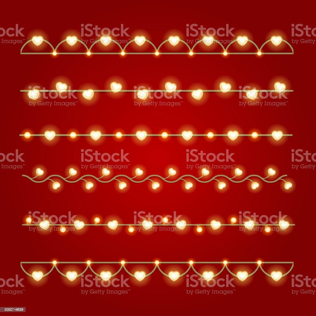 Happy Valentine's Day Glowing Decoration Light Bulbs set vector art illustration