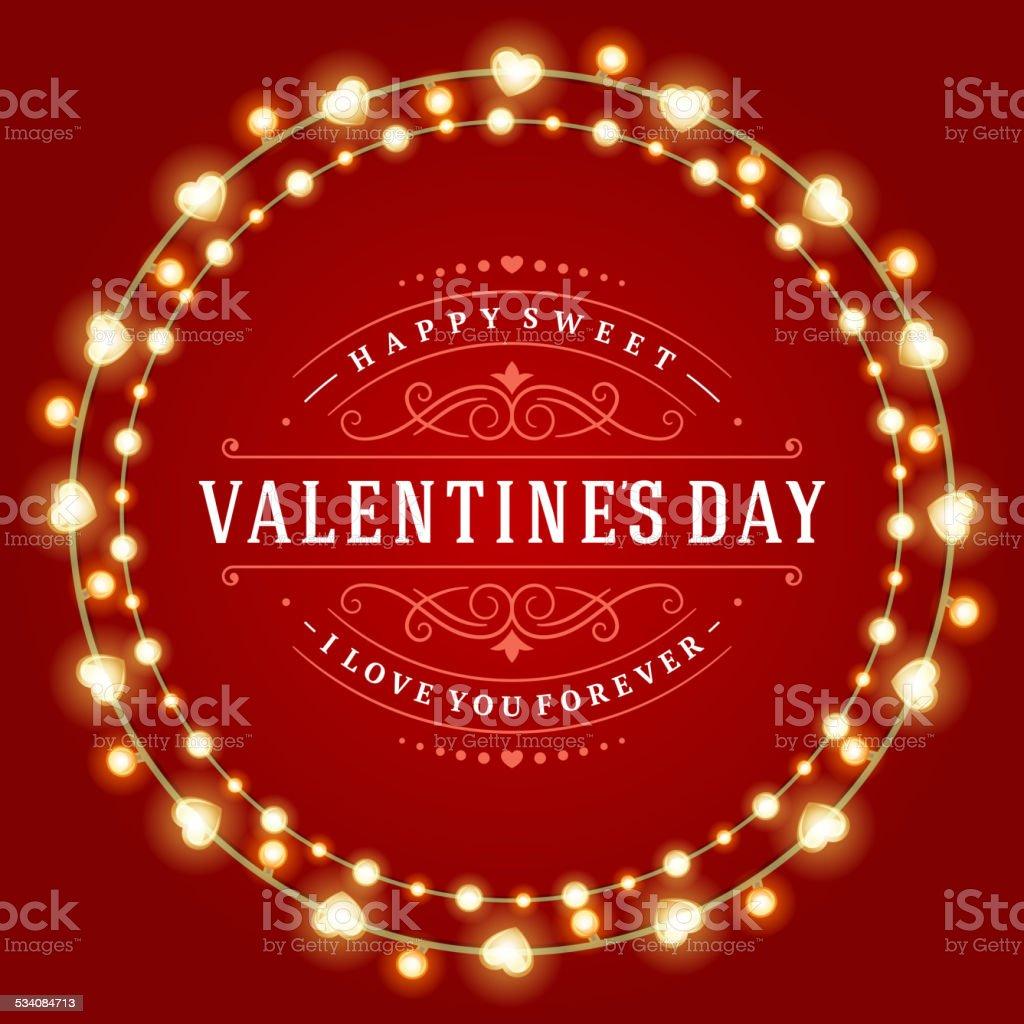 Happy Valentine's Day Glowing Decoration Light Bulbs vector art illustration