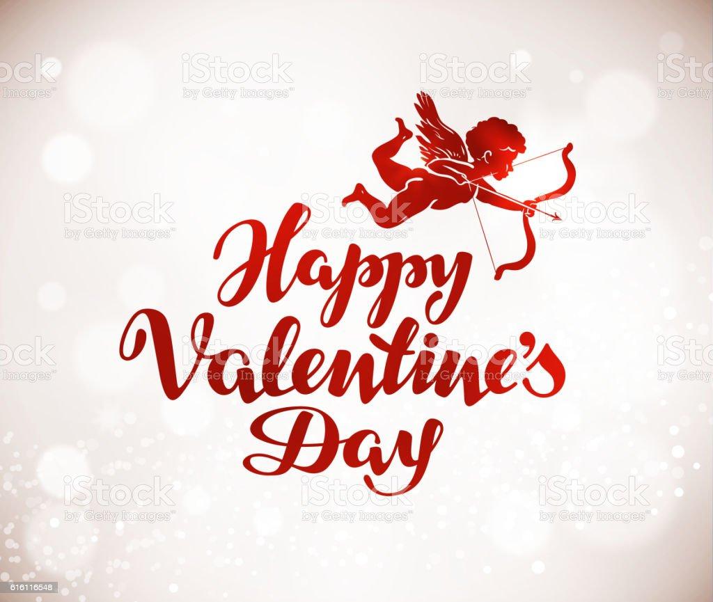 Happy Valentines Day greeting card. Handwritten lettering. Vector illustration vector art illustration