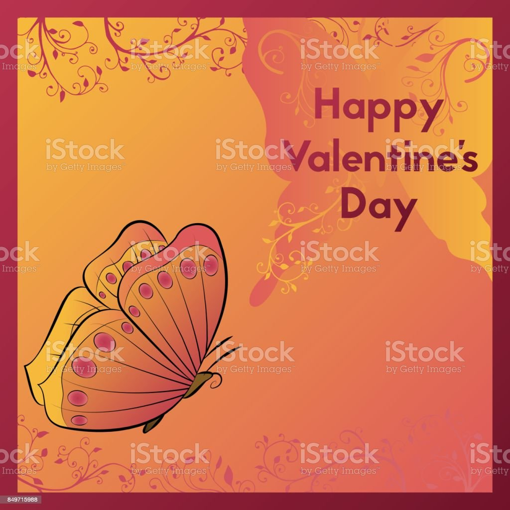 Happy Valentine's Day. Greeting card in orange tones with the image of a butterfly. vector art illustration