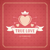 Happy Valentine's Day Greeting Card or Poster Vector illustration
