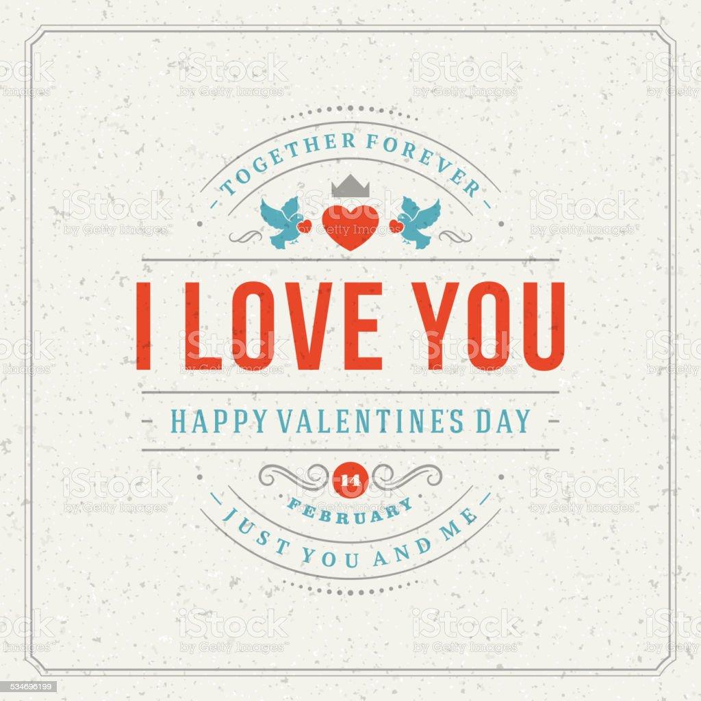 Happy Valentine's day Greeting Card vector art illustration