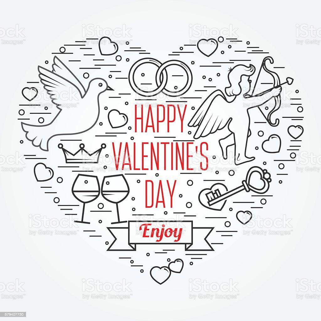 Happy Valentine's Day greetings card, labels, badges, symbols vector art illustration