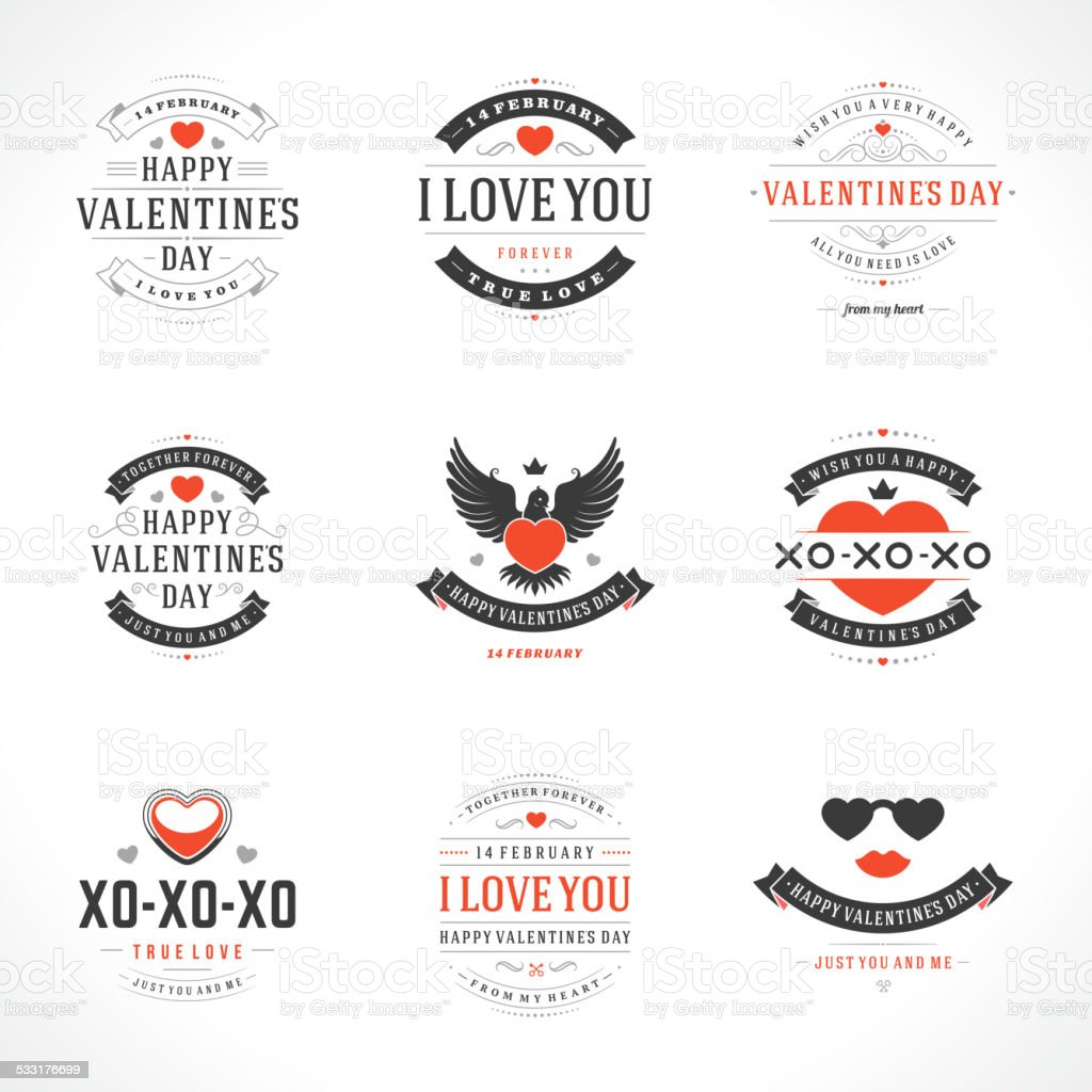 Happy Valentine's Day greetings cards vector art illustration