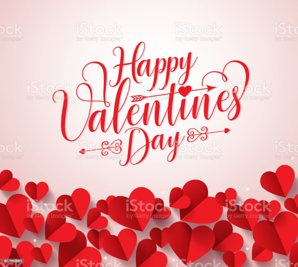 Happy valentines day greetings typography in background with paper cut vector art illustration