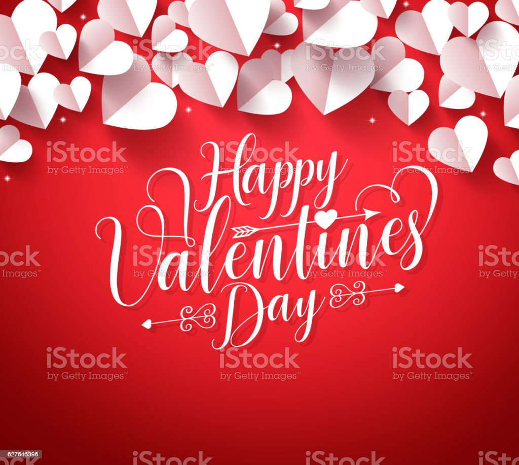 Happy valentines day greetings typography in red background vector art illustration