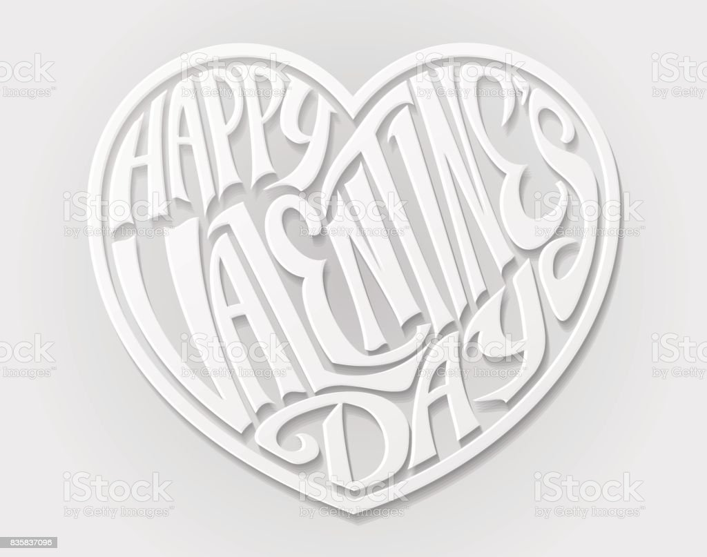 Happy Valentines Day Heart vector art illustration