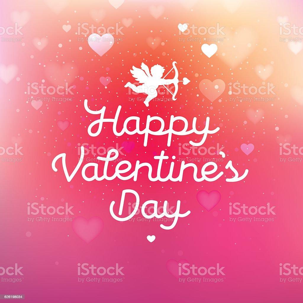 Happy Valentines Day Hearts card vector art illustration
