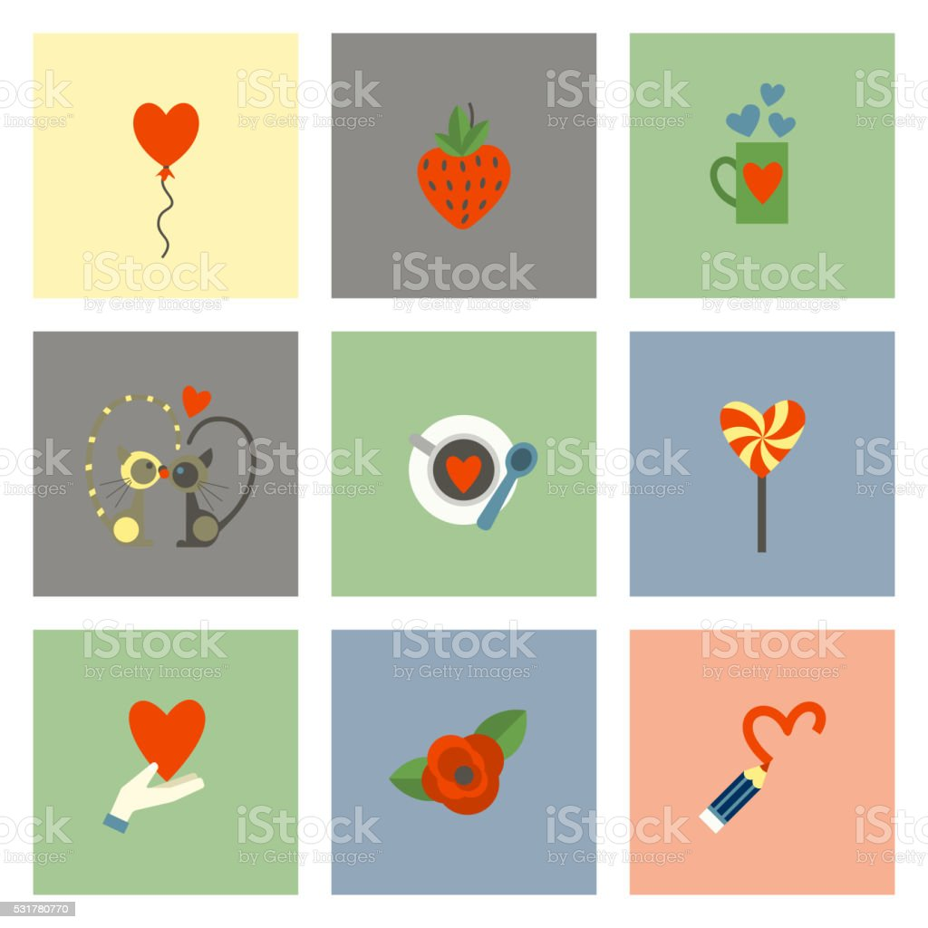 Happy Valentines Day Icons vector art illustration