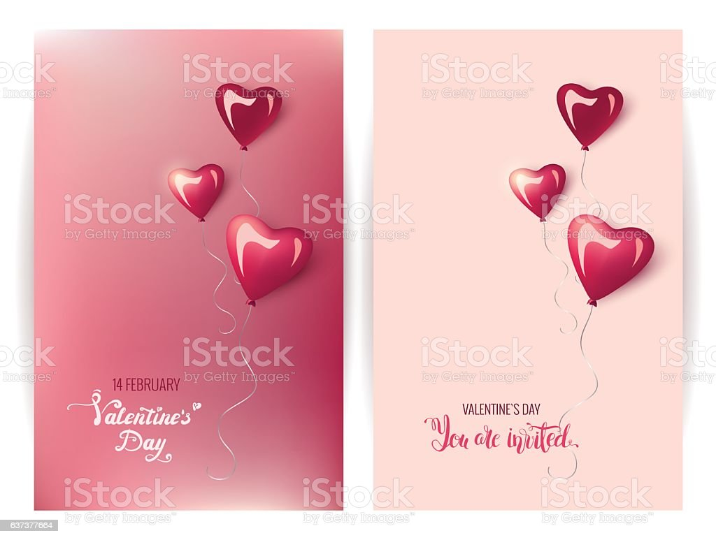 Happy valentine`s day invitation cards. Handwritten calligraphy vector art illustration