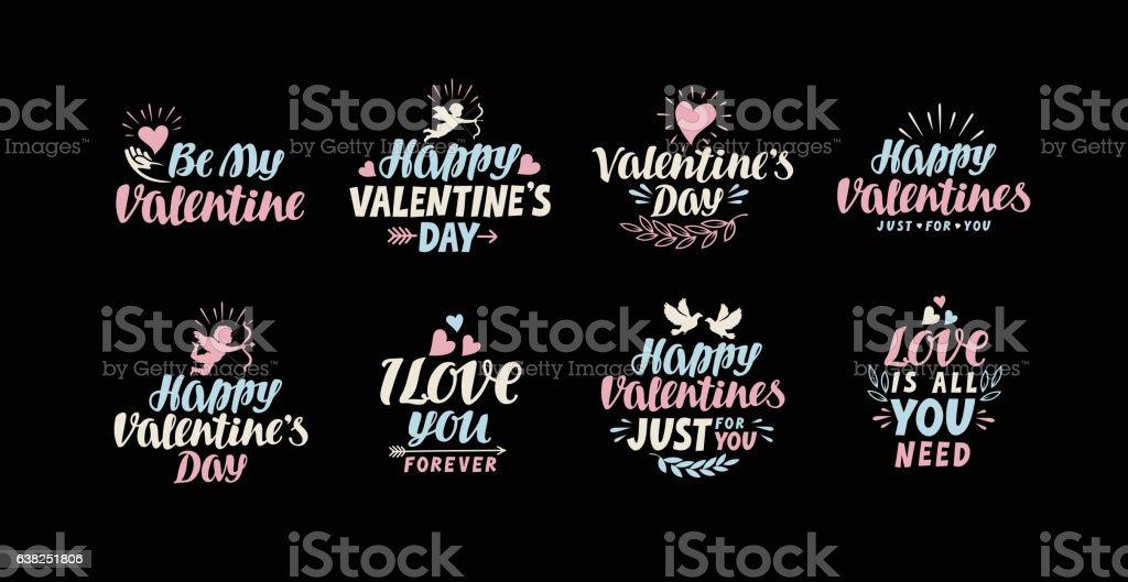 Happy Valentines day lettering card. Label vector illustration vector art illustration