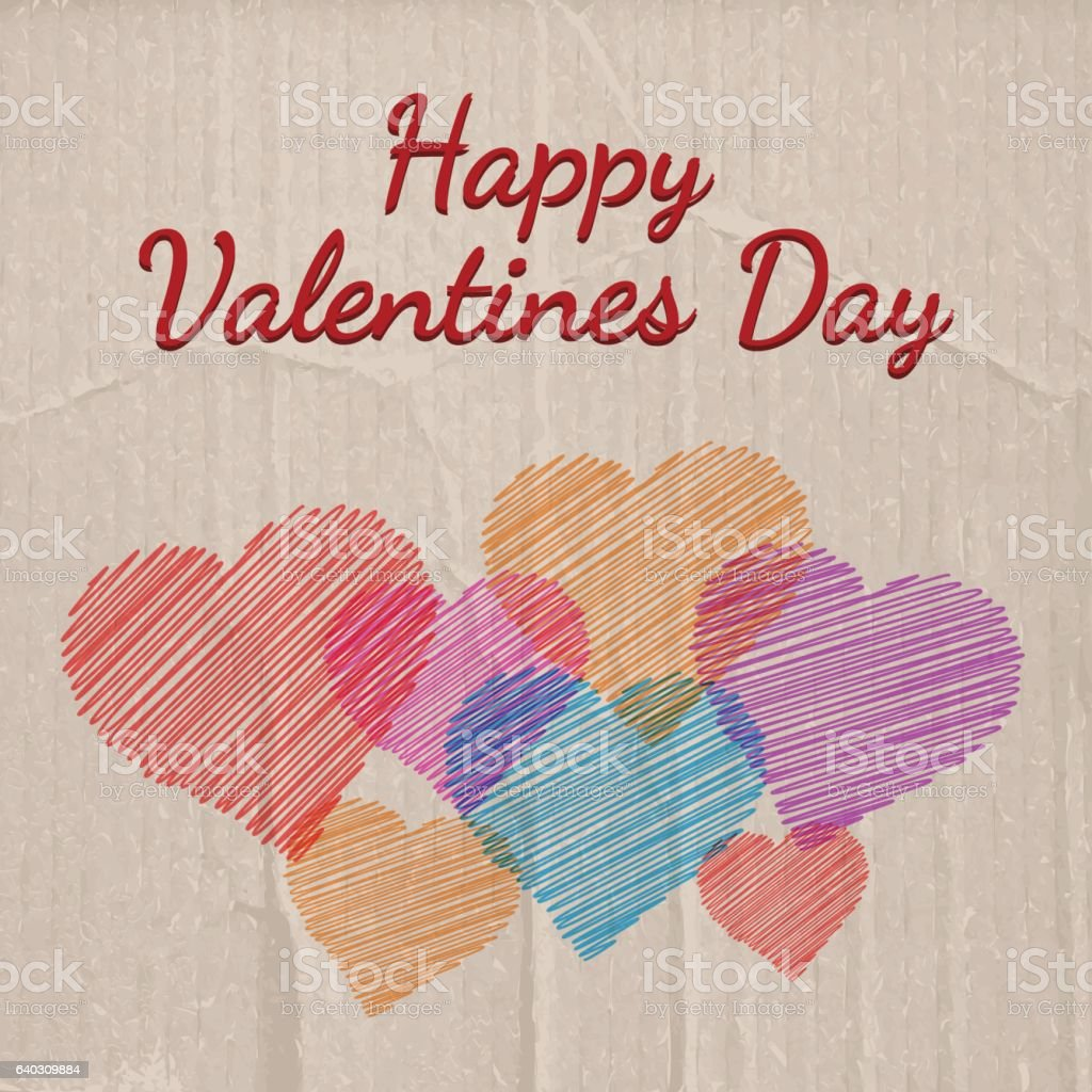 Happy Valentines day on cardboard background with hearts vector art illustration