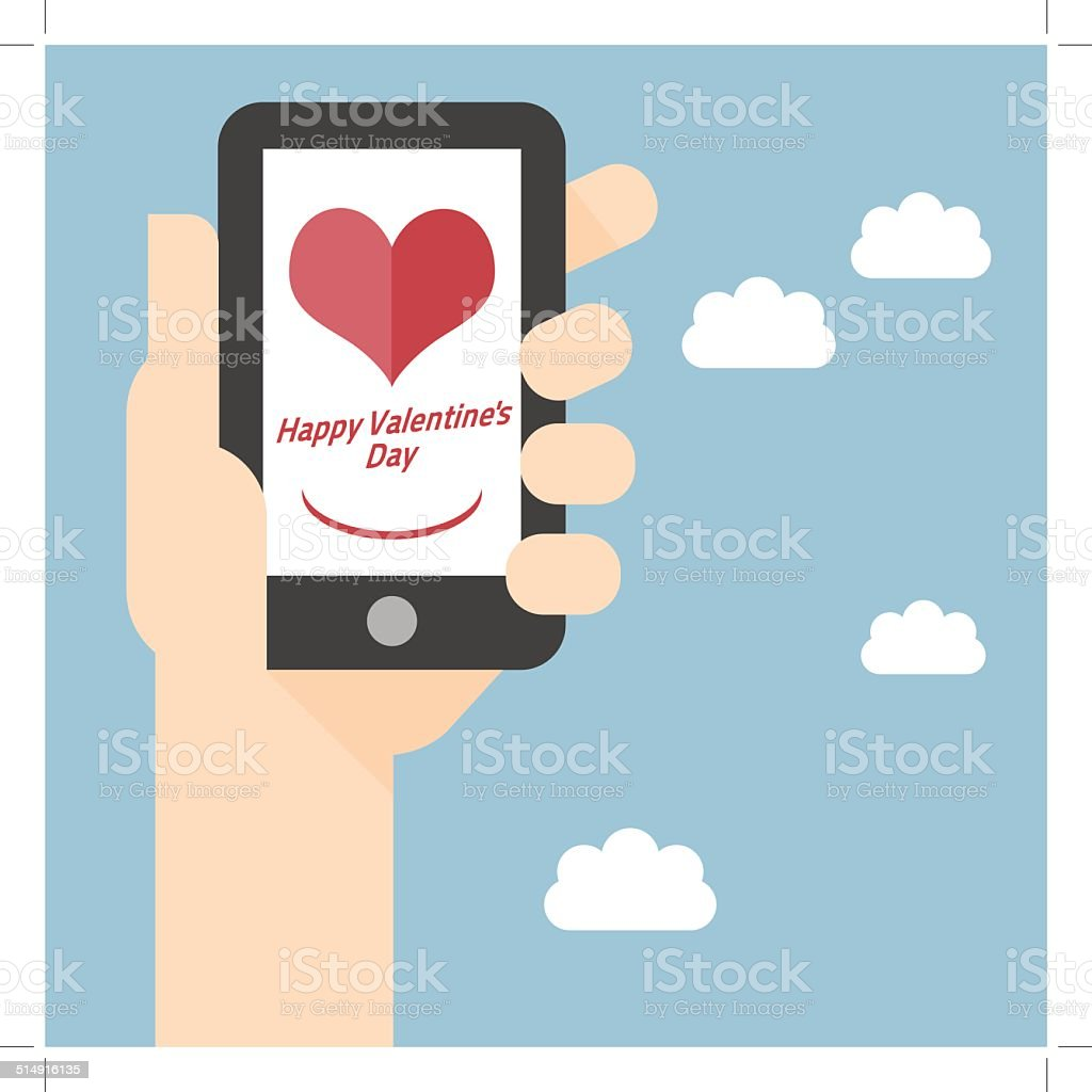 Happy Valentines Day on Mobile royalty-free stock vector art