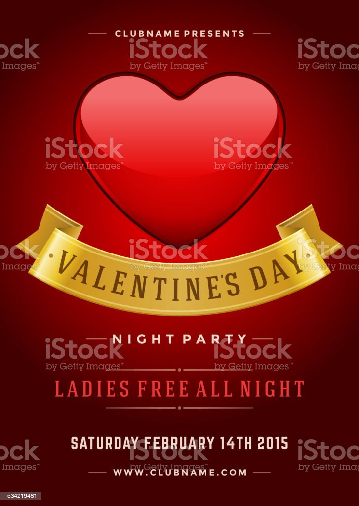 Happy Valentines Day Party Poster Design Template vector art illustration