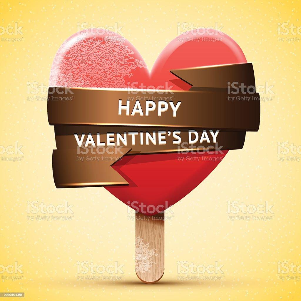 Happy Valentine's Day red ice cream vector art illustration