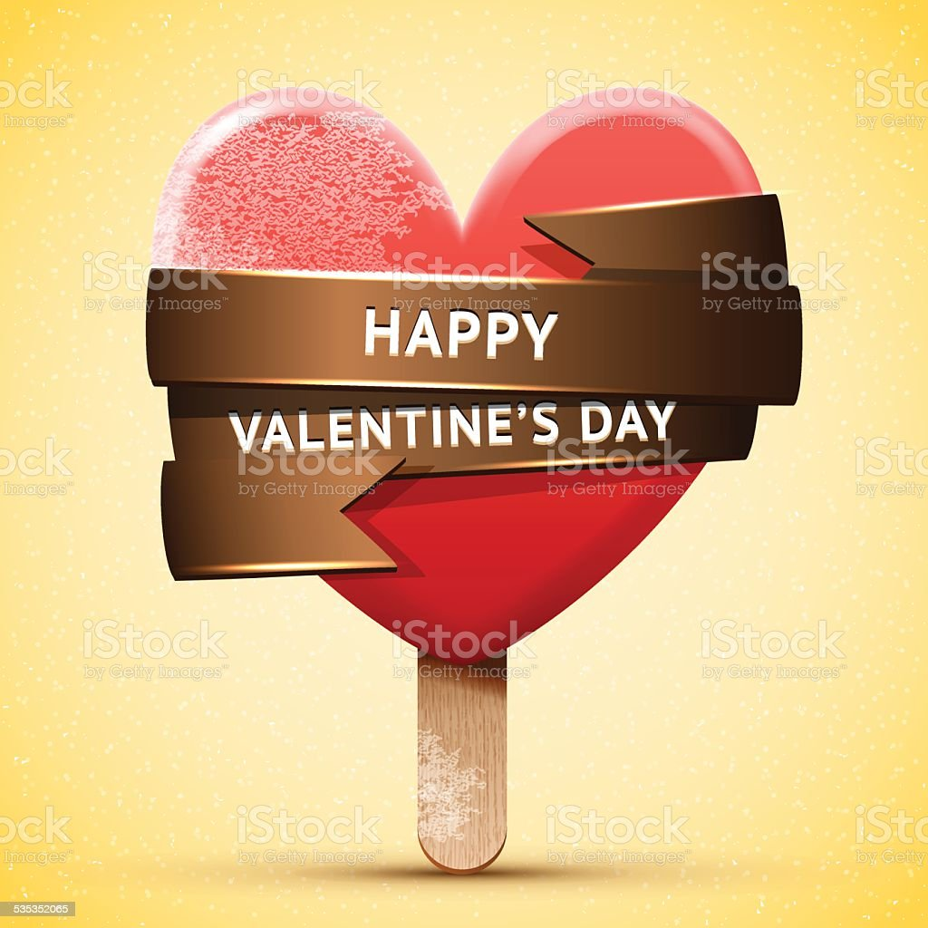 Happy Valentine's Day red ice cream vector art illustration