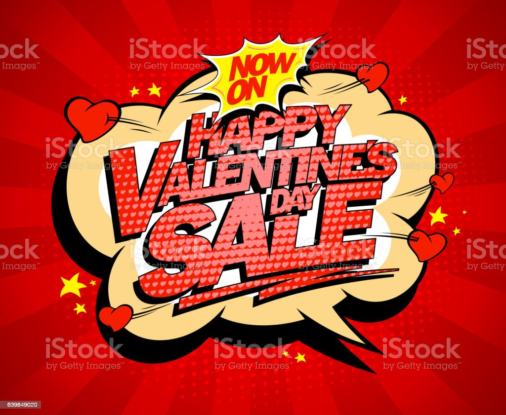 Happy Valentines day sale poster concept vector art illustration