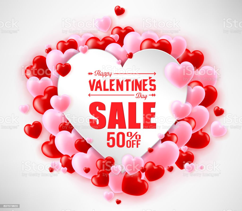 happy valentines day sale with hearts for promotional purposes の