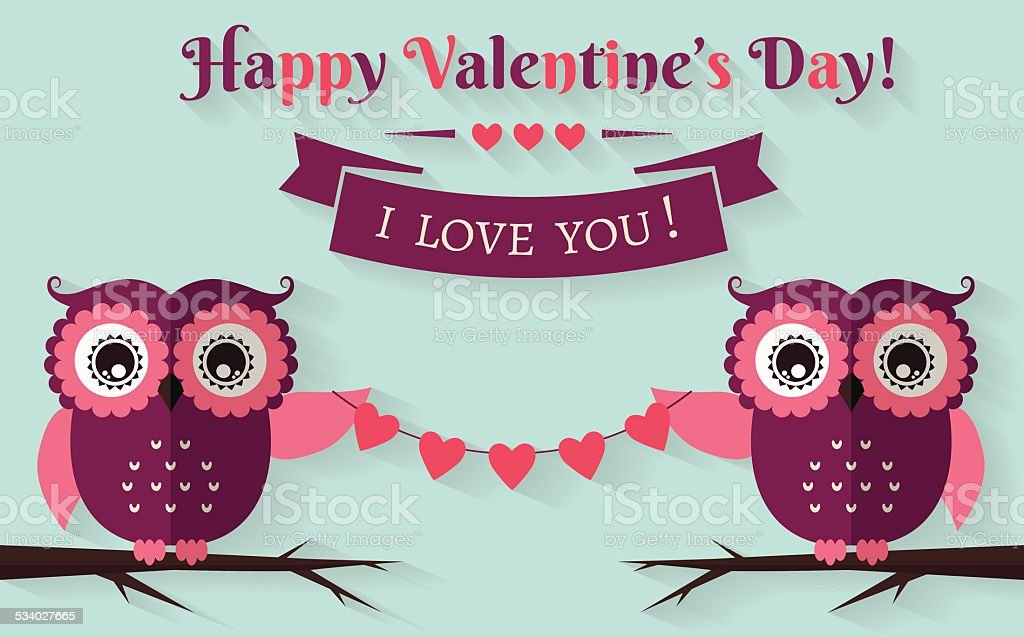 Happy Valentines Day Vector Greeting Card With Flat Owls stock – Owl Valentines Day Cards