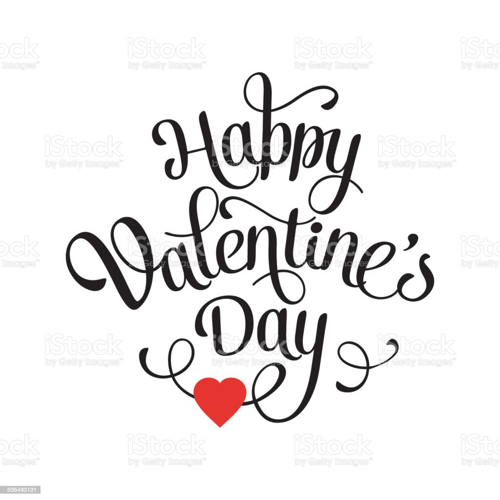 Happy Valentine's Day Vintage Card With Lettering vector art illustration