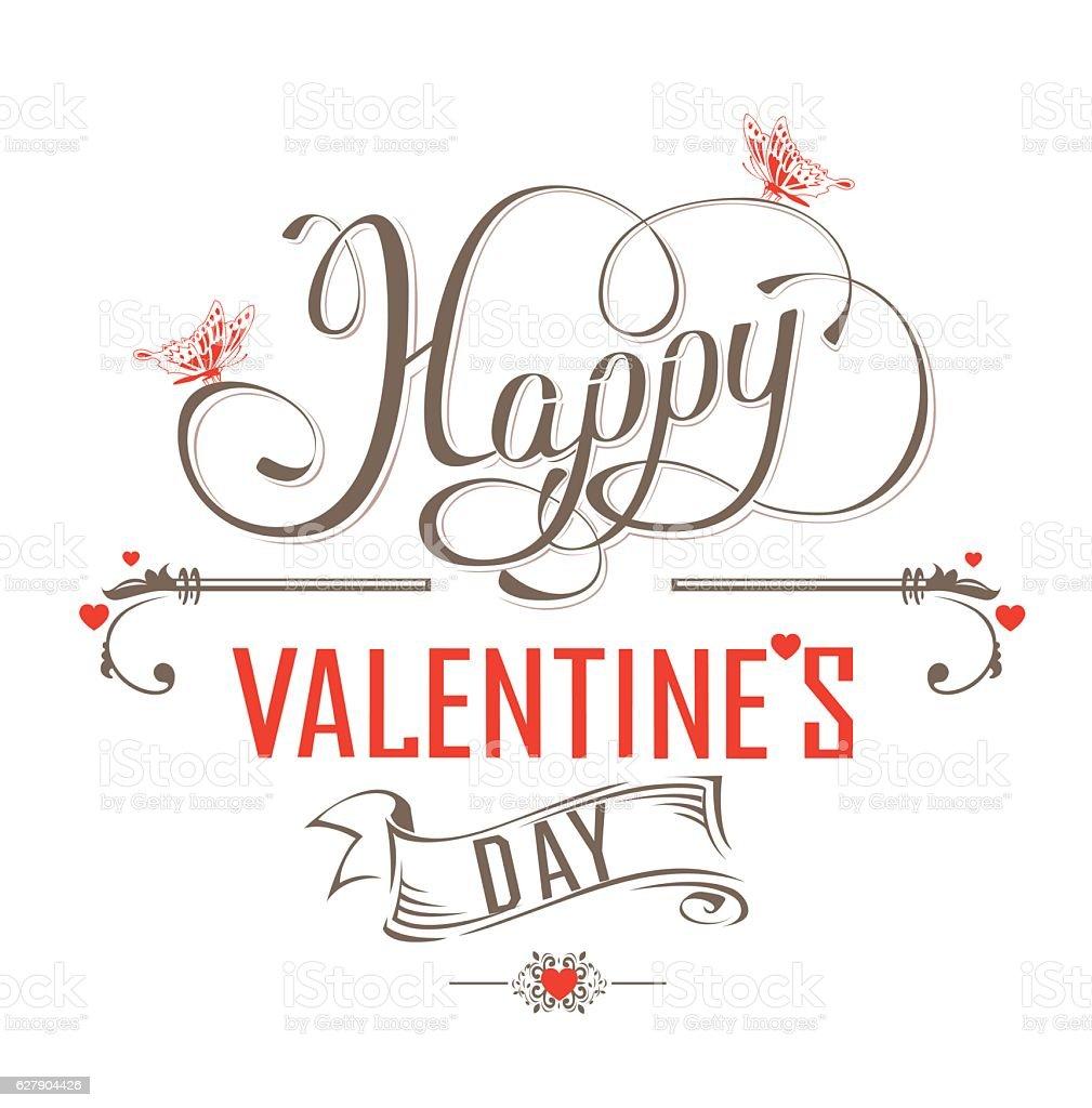 Happy Valentines Day Vintage label vector art illustration