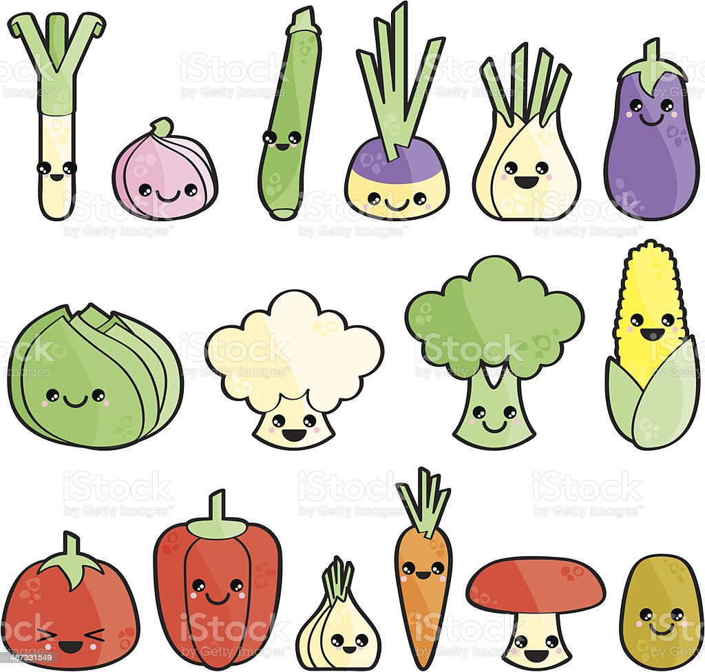 L?gumes heureux vector art illustration