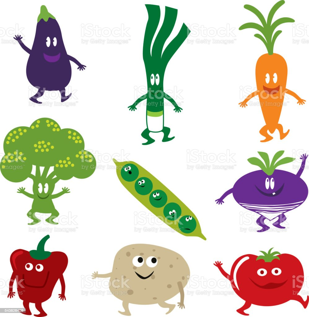 Happy Vegetables vector art illustration